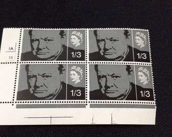 Royal Mail 1965 stamps block of 4 churchill 1/3 stamps