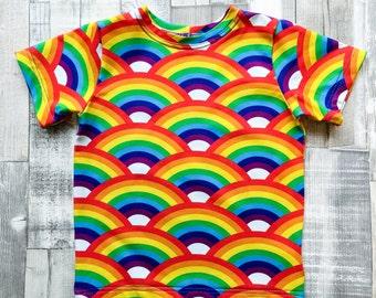 Organic T-Shirt, Summer Rainbow T Shirt, Gender Neutral Boys Girls Top, Quirky Kids Present, eco friendly Gift idea for children