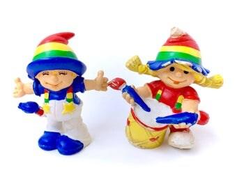 Vintage 1980 Rainbow Kids Lot Rainbow Brite Drummer Girl Drumming Maia Borges PVC Mini Figure Miniature Figures Portugal Portugese W Berrie