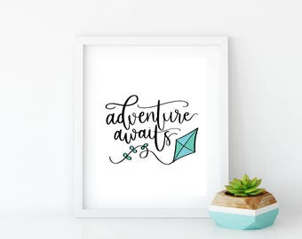 Blue Wall Art for Nursery | Quote Poster | 8x10 Graphic Art Print | Illustration Print | Kite Art Print | Kids Wall Art | Adventure Awaits