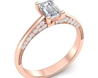 Rose Gold Engagement Ring Emerald Cut Ring Unique Ring Her Semi Mount Forever One Colorless Moissanite Emerald Cut Center 14K New Setting