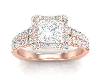 Rose Gold Engagement Ring Princess Cut Halo Ring For Her Square Halo Forever One Colorless Square Moissanite Semi Mount New 14K Setting