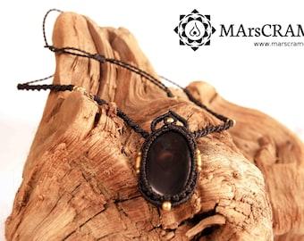 JAMILA. Macrame necklace Onyx, Macrame pendant, macrame jewelry, hippy necklace, micro macrame, gemstone necklace, macrame, gipsy jewelry