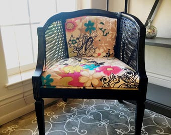 Vintage Cane Arm Chair refinished Black and reupholstered with an eclectic floral fabric Home Decor Office