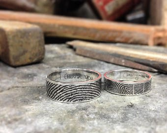 Set of 2 Personalized Fingerprint Rings - Actual Fingerprint and Handwriting Rings - Promise Rings - Couple Rings - Christmas Gift
