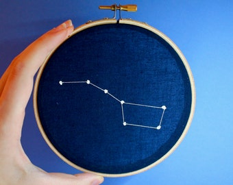 Simple Zodiac Constellation or Big Dipper Embroidery Hoop