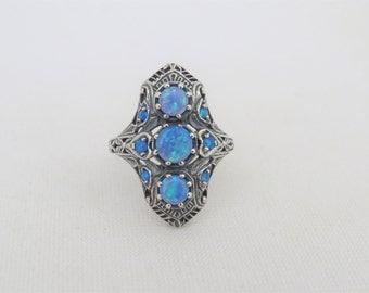 Vintage Sterling Silver Blue Opal Filigree Long Ring Size 7