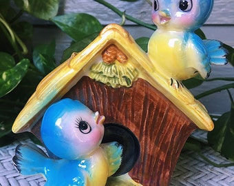 Vintage Rare 1950s NORCREST Japan Collectible - Bluebirds on Birdhouse Planter - Vase - Catchall - Dish