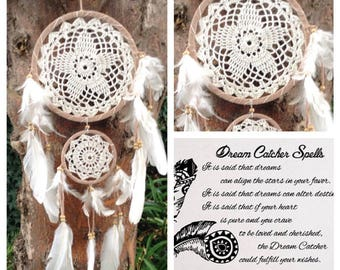Mothers Day Dream Catcher Feather Bead Hanging  Doily boho , sweet dreams, wall hanging, wedding decor,