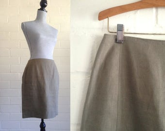 Vintage olive green linen mini skirt