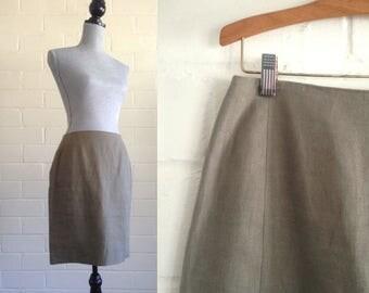 FLASH SALE! Vintage olive green linen mini skirt