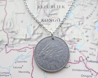 Congo coin necklace/keychain -  made of an original coin from Congo