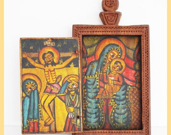 ETHIOPIAN ICON - Painted Wooden Coptic Christian Icon, From Ethiopia, Central Africa