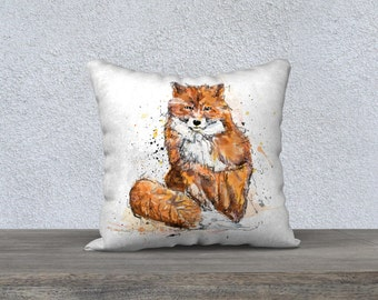 Fox Cushion cover / digital Illustration / Orange and white / Veleveteen / very soft material, made in Quebec