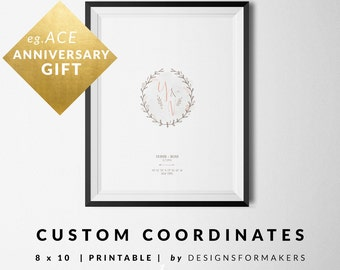 Custom Coordinates - Watercolor Wreath - Wedding Gift - Anniversary Gift - Watercolor Flowers Print - GPS Coordinates Latitude Longitude 25