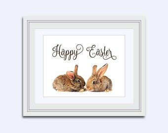 Easter bunnies - Easter cards - Happy Easter printable - Easter wall art - rabbit Print - childrens wall art - Easter Decor - kids printable
