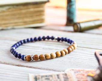 4mm - Blue lapis lazuli beaded stretchy bracelet with sandalwood beads, made to order yoga bracelet, mens bracelet, beaded bracelet, casual