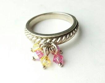 Vintage Sterling Silver Multicolor Crystal Dangle Ring- Size 7.75