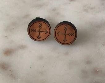 Laser cut wooden earrings- crossed arrows