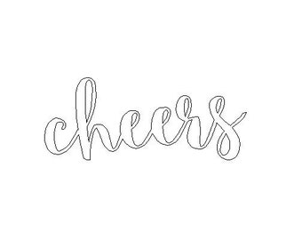 Cheers Word Wall Art Sign Rustic Rush Shipping Powdercoated Gold