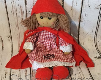 Personalised Rag Doll, birthday, new baby, christening, baptism, dedication gift, little red riding hood, beautifully handmade, personalized