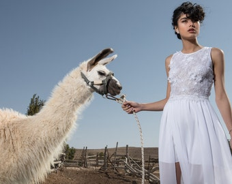 Lace wedding dress, Unique wedding dress, Modern wedding dress, cool wedding dress, special wedding dress, Deborah Wedding Dress