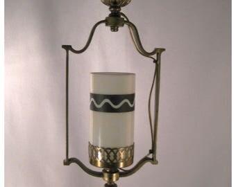 A7393 Vintage Cast Brass Harp Pendant Hall Ceiling Light Fixture 1920's