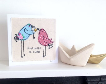 Dotty Birds greeting card- personalised textile art. 2nd cotton anniversary wedding engagement. embroidery fabric applique picture