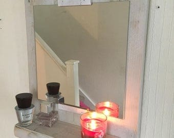 Reclaimed Wooden White Shabby Chic Mirror and Shelf