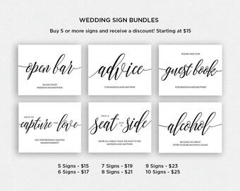 Wedding Sign Bundle   BUNDLE 1   Wedding Reception Signs   Printable Wedding Signs   EDN 5384 - 5408