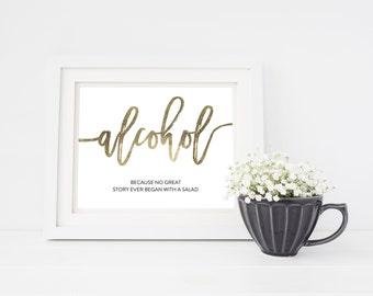 Wedding Sign Template   Alcohol Sign   Wedding Sign   Printable Wedding Sign   5x7 & 8x10   EDN 5440
