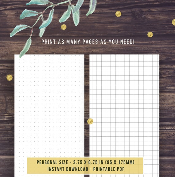 Bullet Journal Template: DOT GRID GRAPH paper Personal Size
