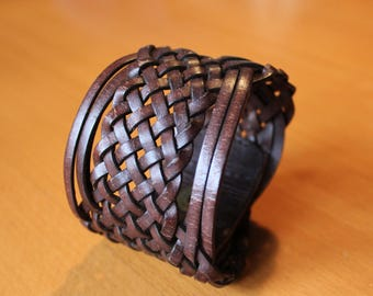 upcylced/recycled vintage woven brown leather cuff