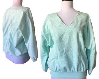 Vintage Sea Foam Green Pieced Pullover — Medium