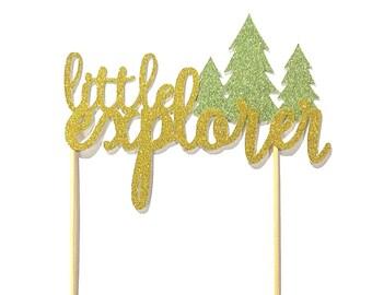 1 pc little explorer script fonts Lumberjack Nature Tree stay wild theme Gold Glitter Cake Topper for Birthday Baby Shower