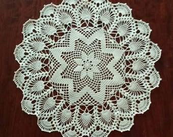"New 14.9"" new ecru handmade crochet doily"