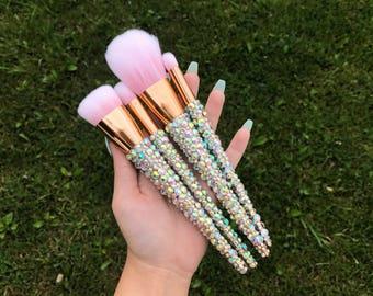 Set of 4 VEGAN Rose Gold w/ Iridescent Crystal Assorted Makeup Brushes