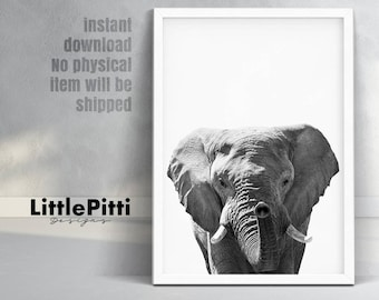 Elephant art, elephant decor, elephant nursery, elephant wall art, elephant nursery art, large wall art, black white art, indian art