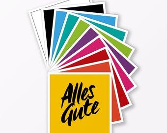 """10-teiliges Set Design GLÜCKWUNSCHKARTE """"Alles Gute"""" quadratisch - verschiedene Farben"""
