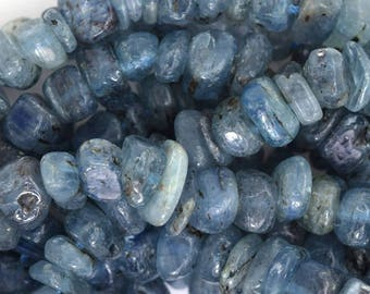 "8-10mm blue kyanite chip nugget beads 16"" strand 35720"