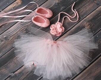 Baby Ballerina Set/ Newborn Ballerina Outfit/ Baby Dancer/Dancer Newborn Prop/ Ballet Slippers and Flower Tieback/Newborn Baby Girl Outfit