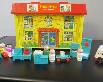 Vintage Fisher Price Little People Children's Hospital Set 1976 Mint Condition ! Included all accessories!  #931