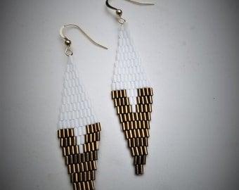 Bronze and white Diamond Earrings