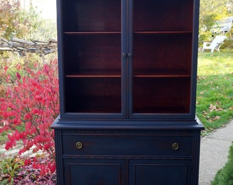 SOLD| Antique shabby chic midnight navy blue china cabinet, hutch, painted furniture, cottage-chic, chalk painted, distressed, upcycled