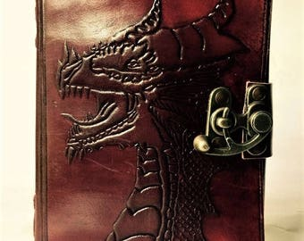 Leather Journal // Dragon Blank Leather-Bound Journal // Blank Leather Notebook // Dragon face