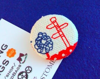 Handmade badge, signpost badge, English finger post, signpost, retro badge, finger post badge, fabric badge, quirky badge, handmade badges
