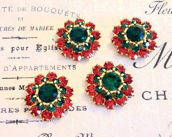 2 Christmas sparkly emerald and light siam ruby swarovski crystals in brass setting  #1239-12