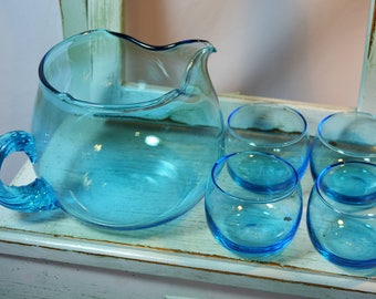 Vintage, Roly Poly Set, Blue, Pitcher and Tumblers, Glassware