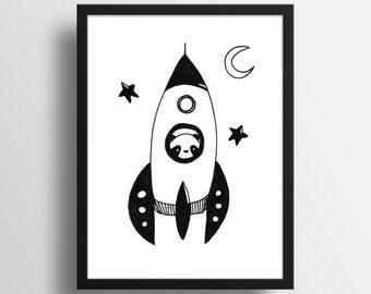 "Illustration - ""Panda Rocket Poster"" A4 Print"