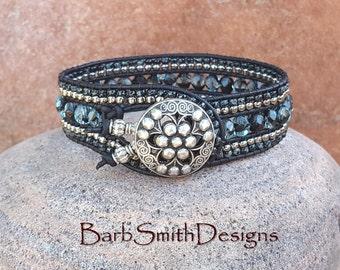 Black Beaded Leather Cuff Bracelet-One Wrap Black Silver Blue Crystal-Unique Bracelet-Boho Bracelet-Custom Size-Indian Princess-Black Waters